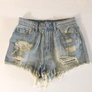 NWT: Distressed jean shorts waist 27